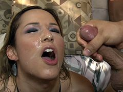 A gorgeous tranny who just can't seem to get enough cocks gets gangbanged by a group of fuckers who pound her hard in her ass while she sucks dicks like a motherfucker. Check it out!