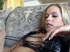 Get a hard dick watching this blonde, with a nice ass wearing fishnet stockings and high heels, while she goes hardcore with a horny guy.