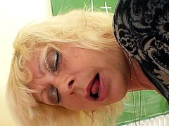 Slutty mature teacher, Lukava, loves pounding her pussy with a big toy