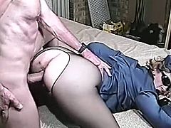 A naughty girl in sexy police uniform gets fucked by an old man