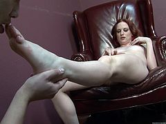 Watch the beautiful Audrey Lords giving this guy a footjob and sucking on his hard cock after he licks and sucks on her toes.