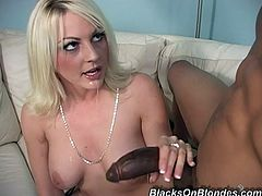 Horny Sindy Lange sucks two big black cocks sitting on a sofa. Then this slutty bitch also gets spit roasted. Her pussy has never been fucked so hard.