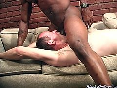 Entertain yourself watching this white dude getting his ass destroyed by two homosexuals. They have a crazy interracial threesome!