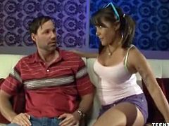 Mena Li is a barely legal babe with a step dad who needs some comforting. He's upset, so she offers him a handjob to blow the steam off. He can't say no to her.