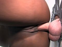 Ebony babe with huge boobs takes clothes off in a gloryhole room. She sucks a cock and gives an amazing titjob. Daquiri also gets fucked in this hot interracial video.