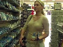 Just look at this deliciously hot doll Alison Angel! Babe is getting naked and showing some action in the grocery store.