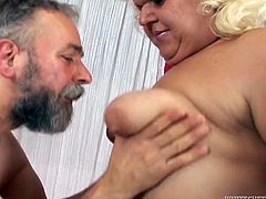 Watch this hot scene where the BBW mature Adriana is fucked by a horny old man as the camera films the entire scene.