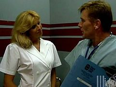 Salacious blonde milf Tara wearing a nurse robe is getting naughty with a doctor at their work place. They have oral sex and then fuck doggy style and moan with pleasure.