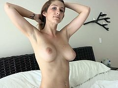 Sexy Karina wakes up in the morning. She always sleeps naked. So, she shows her nice pussy and boobs while doing morning exercises. Then she dresses on her pink lingerie.