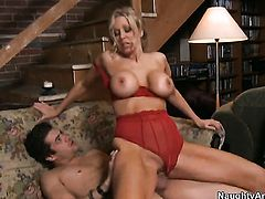Julia Ann with gigantic knockers enjoys Xander Corvuss throbbing worm deep inside her bush
