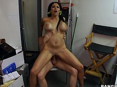 Our Missy rides a hard cock with her tight pussy. The guy simply sits on the chair and enjoys her pussy lips sliding on his dick as she rids him in reverse cowgirl. She likes that but it's time for something new so Missy changes positions and receives it in sideways. What a good girl, she deserves cum for what she did