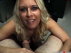 Skanky blonde secretary got this job for her good cock sucking skills. So she gives her boss deepthroat blowjob in the end of the working day.