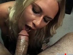Sexy new secretary Riley Evans sucks her boss' dick after work