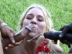 She is a diva with some desires to go black! Two horny studs give her their huge black monster cocks and she enjoys her possession!