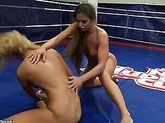 Blonde Ivana Sugar with huge melons lets Cathy Heaven stick her tongue in her lesbian love tunnel