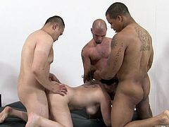 Have fun with this hardcore scene where the busty Kiki Daire is fucked silly by a pack of horny guys in a wild gangbang.