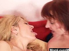 These lustful women still have passion for sex. They toy their pussies with big dildos lying side by side. In addition they suck a double ended dildo together.