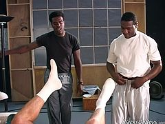 Now this is a damn interracial gay threesome porn video! Look what this white dude does to huge black cocks and then enjoys the result.
