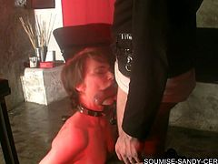 french slave suck deepthroat and gag