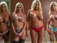 Blondes Courtney Taylor, Nikki Benz, Summer Brielle, and Nina Elle are all beautiful and busty! They take off their bras and pose topless in front of Keiran Lee. Their gorgeous big boobs are the surprise for the boss!