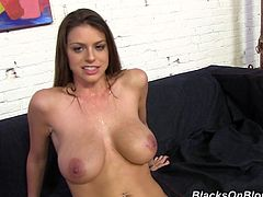 We get a great view of Brooklyn's fantastic tits before the shoot then covered in jizz as she gets in the shower after the shoot.