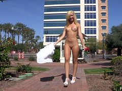 Amateur blonde in a dress and high heels shows her natural tits and hot ass in public. Even shoves toys in her shaved pussy while outdoors.