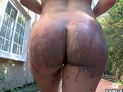 Sexy slut Krissy gets painted up in the back yard. All the different colors are brushed on her titties and massive bum. The paint even gets rubbed on her pussy and in her ass crack. Look at her shake that magnificent booty.