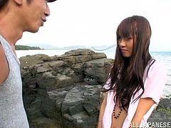 Chika Kitano shows off her sweet ass and cute small tits out on the beach before getting fucked. She finishes this happy guy off with a nice handjob.