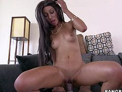 Long haired brunette Nadia Nicole with round ass and sexy perky tits is half black half sexy. This passionate honey sucks fat black dick and then takes it up her tight shaved pussy.