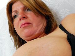Those big boobs are shaking perfectly while mom stimulates her needy cunt