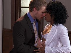 Slim Misty Stone takes off her clothes and lies down on the office table. A white guy licks Misty's sweet pussy and then starts to fuck her.