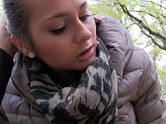Young and innocent girlie gets fucked hard on a bench in the park. It's cold outside so she has her coat on but panties down.