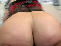 Phat brunette babe in fishnet gloves, stockings and corset gets brutally doggyfucked by BBC. Then chubby hoe gets on top and rides that black sausage like a cowgirl.
