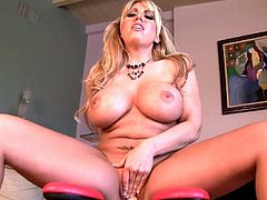 This golden beauty is amazing while deep pounding her shaved twat