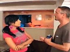 Super hot babysitter avy lee roth is having a chat with her drunk boss! She likes him very much and wants to suck his fat rod!