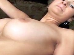 Sizzling hot dark haired hun with massive hooters Amy Reid takes fat dick up her soaking coochie missionary style. After doggystyle pounding Amy gets titfucked and facialized.
