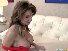 Horny mature woman Deauxma in sexy red dress bares her huge boobs and spreads her legs in front of well hung younger guy. He licks and fucks her neatly shaved mature pussy like crazy. She begs for harder pussy pounding to get orgasm.
