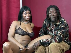 Brown Sugar is a thick ebony babe with big natural tits and an amazing ass. Watch her sucking on this guy's black monster cock before being fucked silly.