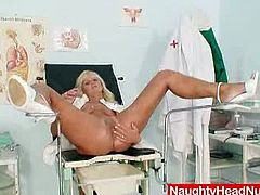 Naughty Head Nurses brings you a hell of a free porn video where you can see how a horny mature blonde nurse dildos her pink pussy into heaven while assuming very interesting poses.