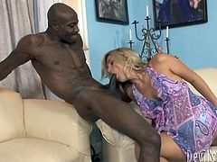 Big black guy shows his huge toolbox to the blondy.