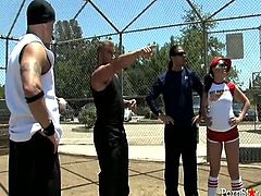 Incredibly pervert brutal dawgs like watching those hot chicks playing baseball. When they look at these wenches their penises become incredibly horny....and they wanna fuck a lot...Look at this thirsting dudes in Pornstar sex video!