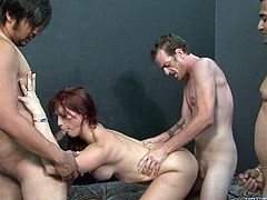 Have a look at this hardcore gangbang scene where this slutty redhead is fucked silly by a guy and covered by cum.