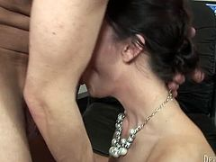 Burning hot busty secretary gets laid with officemate. Busty sexpot gives blowjob and gets her tasty cunt licked before getting fucked missionary style.