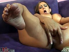 This rapacious seductive chick with awesome boobs shaved her pussy and decided to poke it with new big fuck tool. Take a look at this hot Sweetie in My XXX Pass porn clip!