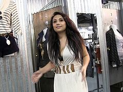 While out shopping Rikki pulls down her top and shows off her tits then hikes up her skirt and flashes some pussy while other shoppers are around.