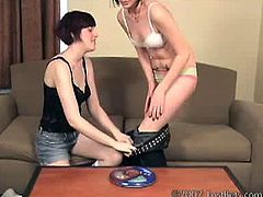Pettles and Elora are back. The loser of their last game wasn't too happy about it because she will have to get naked and get her sexy booty spanked very roughly.
