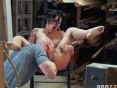 Charing dark-haired pornstar Eva Angelina bares her butt for another hot scene. She gets her asshole finger fucked by horny as hell guy before she takes his sausage deep down her throat.