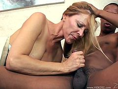 Have fun with this interracial scene where the busty mom Nicole Moore ends up with a messy facial after being fucked by this guy's big black cock.