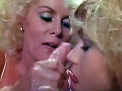 Duet of burning hot blonde sluts go down on one dude blowing his fat dick in turn. Guy cums and bitches slurp on his hot jizz with pleasure.