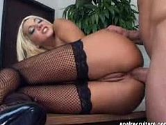 Checkout this sexy blonde bitch with lovely black fishnet stocking and huge juicy tits.See how this sexy babe sucks that hard big cock of this horny hunk and then gets her tight anal hole fucked hard and deeply.